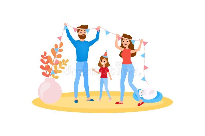 Η οικογένεια διακοσμεί το σπίτι από κοινού Το ευτυχές κορίτσι έχει τη διασκέδαση ελεύθερη απεικόνιση δικαιώματος