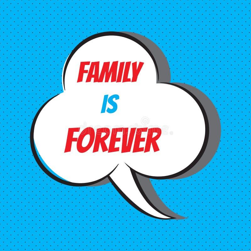 Η οικογένεια είναι για πάντα Κινητήριο και εμπνευσμένο απόσπασμα διανυσματική απεικόνιση