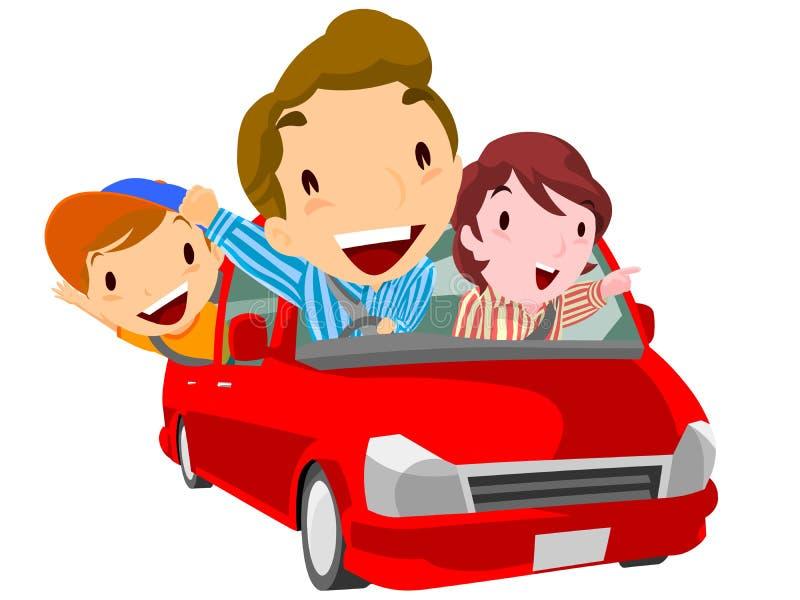 Η οικογένεια πηγαίνει στον ελεύθερο χρόνο με το αυτοκίνητο ελεύθερη απεικόνιση δικαιώματος