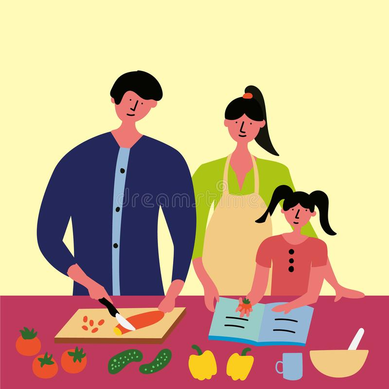 Η οικογένεια προετοιμάζει το πρόγευμα, μεσημεριανό γεύμα, γεύμα σύμφωνα με τη συνταγή διανυσματική απεικόνιση