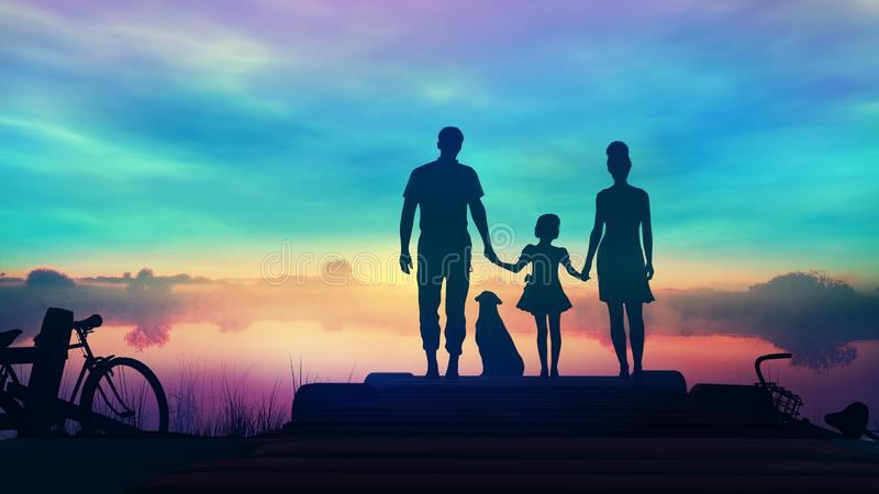 Η οικογένεια τριών με ένα σκυλί θαυμάζει το ηλιοβασίλεμα από την αποβάθρα στοκ εικόνα με δικαίωμα ελεύθερης χρήσης