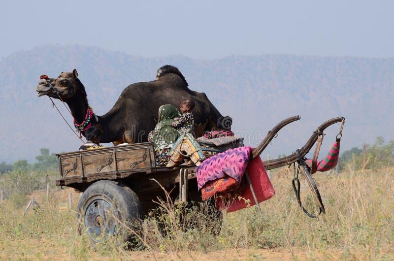 Η οικογένεια τσιγγάνων προετοιμάζεται στις παραδοσιακές δίκαιες διακοπές καμηλών στο νομαδικό στρατόπεδο στην ιερή πόλη Pushkar,  στοκ εικόνα με δικαίωμα ελεύθερης χρήσης