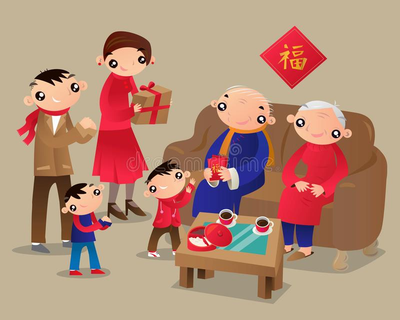 Η οικογένεια Χονγκ Κονγκ επισκέπτεται το σπίτι των συγγενών κατά τη διάρκεια του κινεζικού νέου φεστιβάλ έτους διανυσματική απεικόνιση