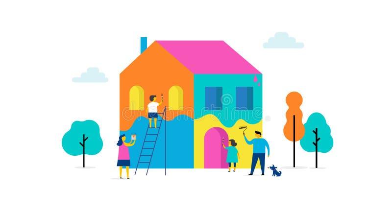 Η οικογένεια χρωματίζει το σπίτι, σχέδιο έννοιας Θερινή υπαίθρια σκηνή με τη ζωηρόχρωμη minimalistic επίπεδη διανυσματική απεικόν απεικόνιση αποθεμάτων