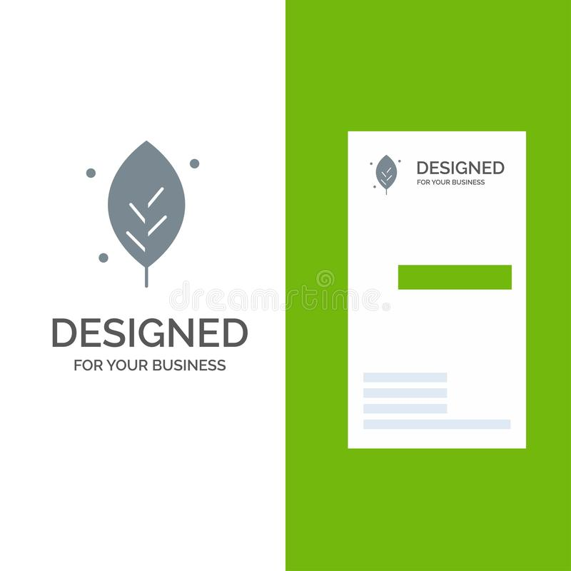 Η οικολογία, φύλλο, φύση, αναπηδά το γκρίζο σχέδιο λογότυπων και το πρότυπο επαγγελματικών καρτών ελεύθερη απεικόνιση δικαιώματος