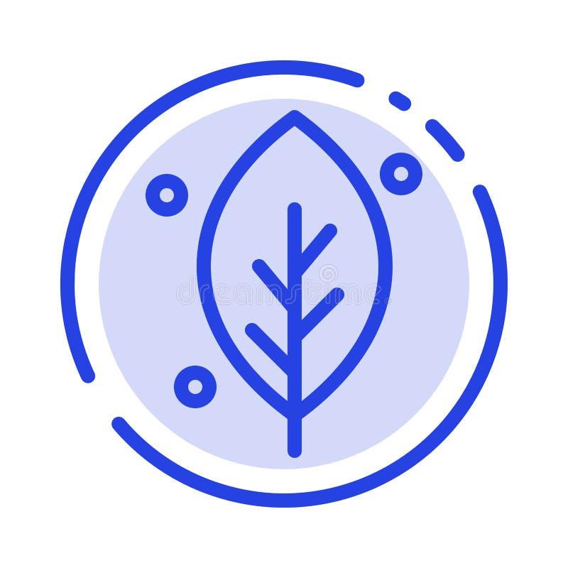 Η οικολογία, φύλλο, φύση, αναπηδά το μπλε εικονίδιο γραμμών διαστιγμένων γραμμών απεικόνιση αποθεμάτων
