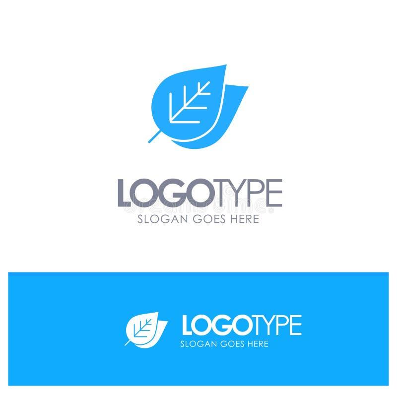 Η οικολογία, φύλλο, φύση, αναπηδά το μπλε στερεό λογότυπο με τη θέση για το tagline απεικόνιση αποθεμάτων