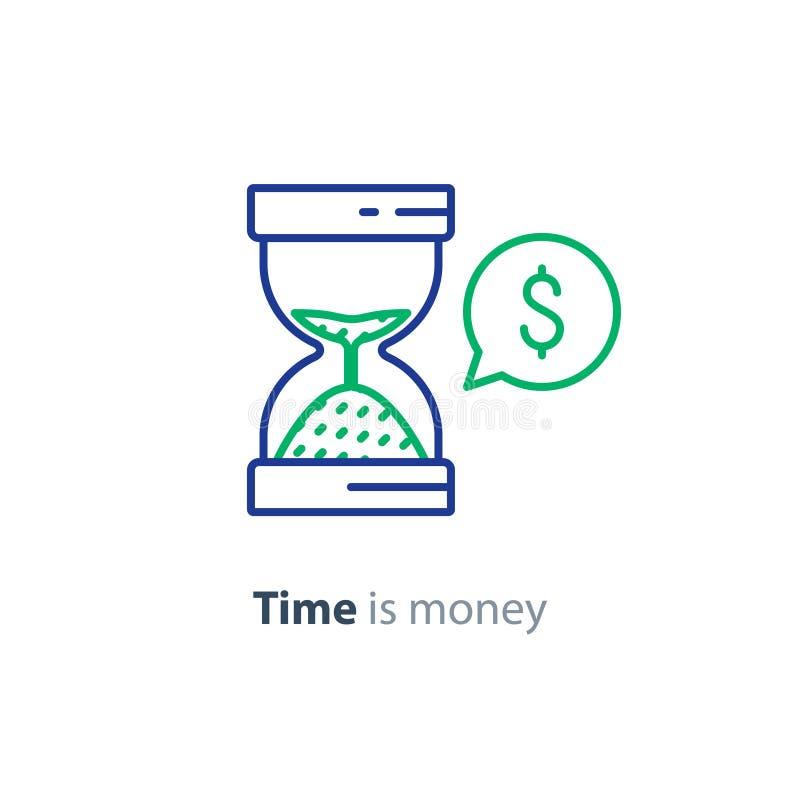 Η οικονομική διαβούλευση, υπηρεσία συμβουλών επένδυσης, χρόνος είναι εικονίδιο γραμμών χρημάτων διανυσματική απεικόνιση