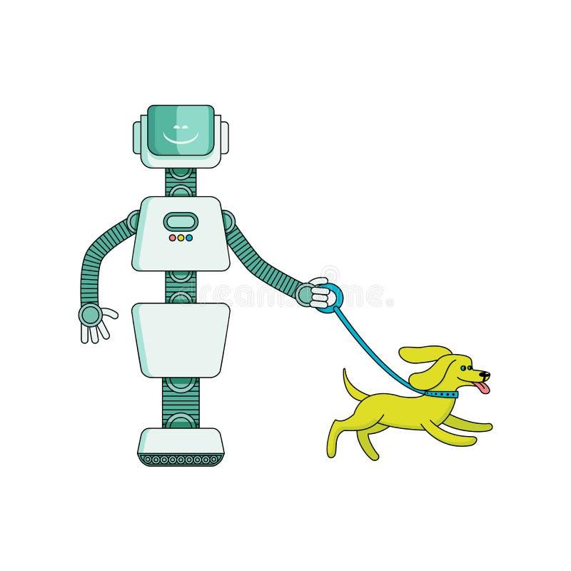 Η οικονόμος ρομπότ περπατά το σκυλί - χαρακτήρας κινουμένων σχεδίων που απομονώνεται στο άσπρο υπόβαθρο ελεύθερη απεικόνιση δικαιώματος