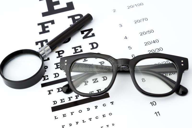 Η δοκιμή όρασης με τα μαύρα μικρά πιό magnifier, μαύρα γυαλιά και το διάγραμμα στοκ φωτογραφία