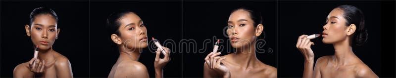Η ομάδα κολάζ όμορφης μαυρισμένης καθαρής γυναίκας δερμάτων τύλιξε το Μαύρο στοκ φωτογραφίες με δικαίωμα ελεύθερης χρήσης
