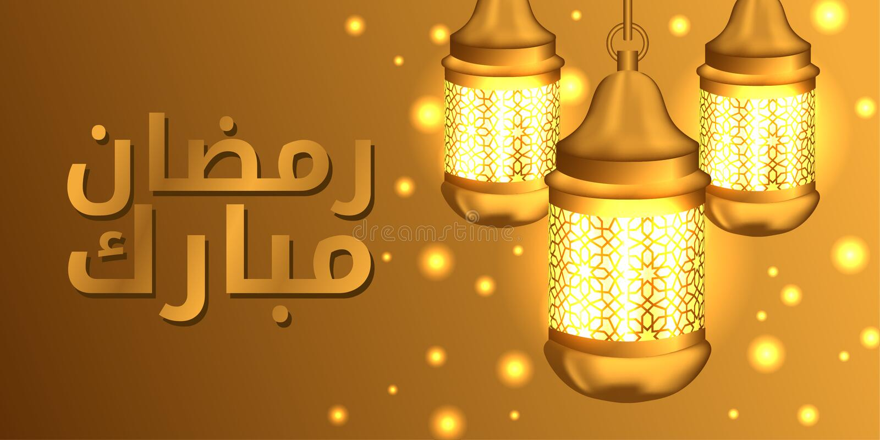 Η ομάδα κρέμασε τον τρισδιάστατο ρεαλιστικό χρυσό λαμπτήρα φαναριών για το ramadan Mubarak και kareem τον ισλαμικό πολιτισμό απεικόνιση αποθεμάτων