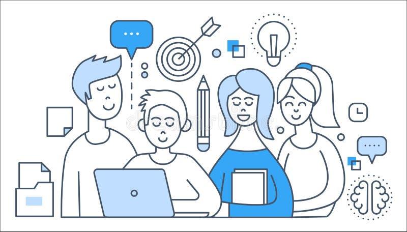 Η ομάδα, οι άνθρωποι γραφείων, η δημιουργική ομαδική εργασία και η επίπεδη απεικόνιση έννοιας γραμμών αύξησης σταδιοδρομίας μας δ απεικόνιση αποθεμάτων