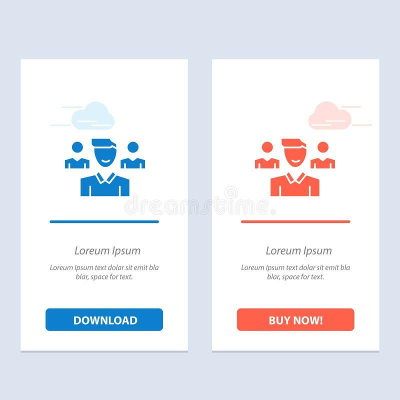 Η ομάδα, ο χρήστης, ο διευθυντής, η ομάδα μπλε και το κόκκινο μεταφορτώνουν και αγοράζουν τώρα το πρότυπο καρτών Widget Ιστού απεικόνιση αποθεμάτων