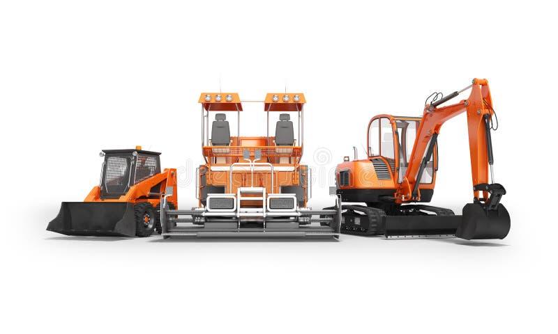 Η ομάδα πορτοκαλί βαρύ paver εκσκαφέων μηχανημάτων bobcat με τον κάδο τρισδιάστατο δίνει στο άσπρο υπόβαθρο με τη σκιά ελεύθερη απεικόνιση δικαιώματος