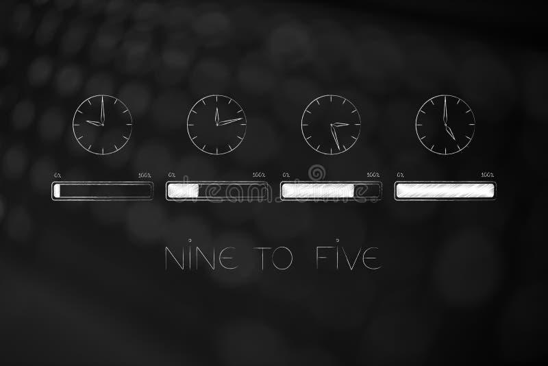 Η ομάδα ρολογιών με τις ώρες απασχόλησης που από κάθε μια με το φραγμό προόδου αφορούσε την ολοκλήρωση της εργάσιμης ημέρας στοκ εικόνα με δικαίωμα ελεύθερης χρήσης
