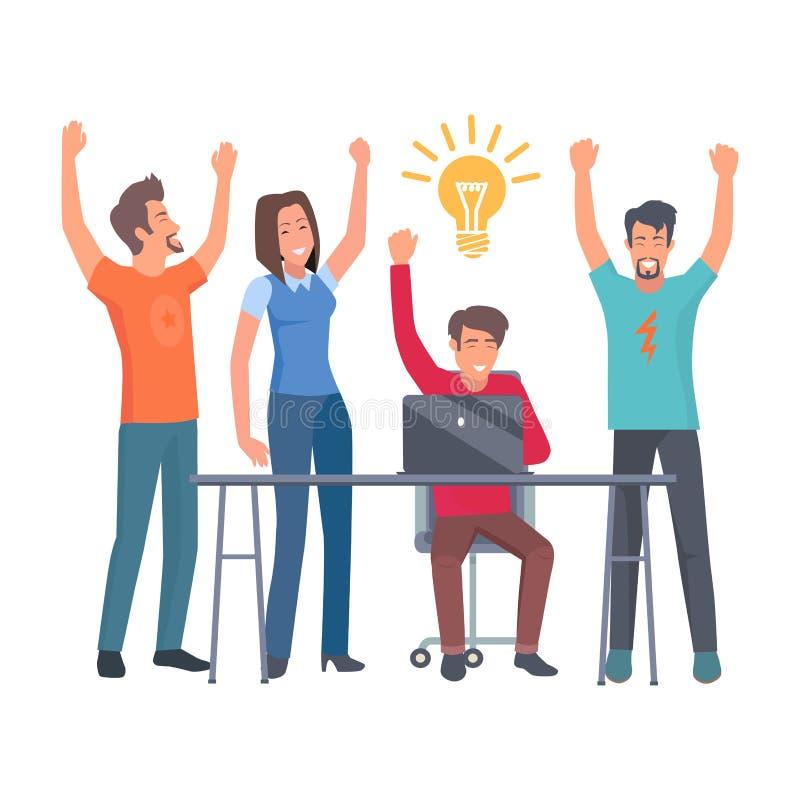 Η ομάδα συναδέλφων έχει την απεικόνιση ιδέας ελεύθερη απεικόνιση δικαιώματος
