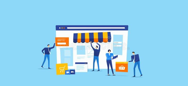 Η ομάδα υπεύθυνων για την ανάπτυξη και σχεδιαστών δημιουργεί το σε απευθείας σύνδεση κατάστημα διανυσματική απεικόνιση