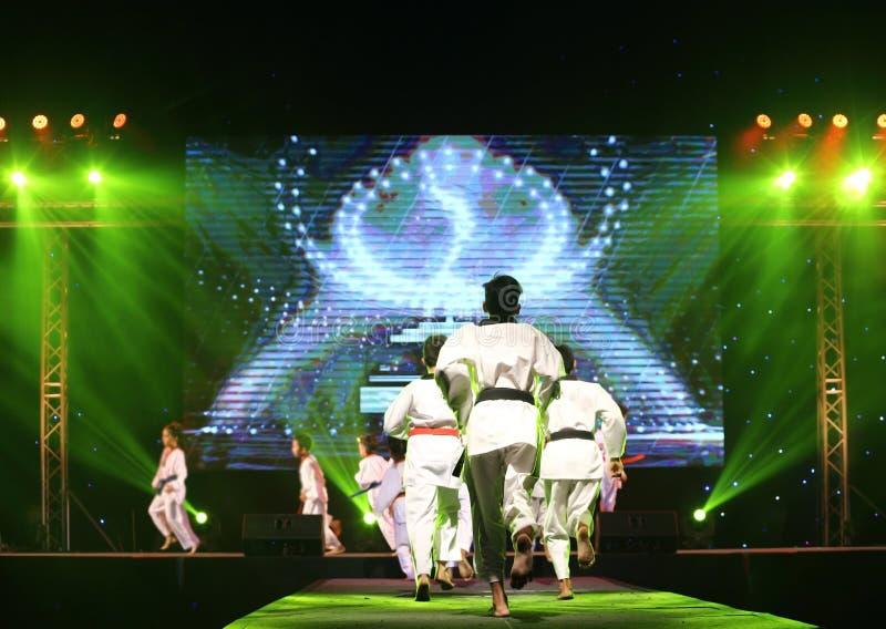 Η ομάδα Taekwando αποδίδει στη σκηνή ψυχαγωγίας για να παρουσιάσει εργασία ομάδων στοκ εικόνες
