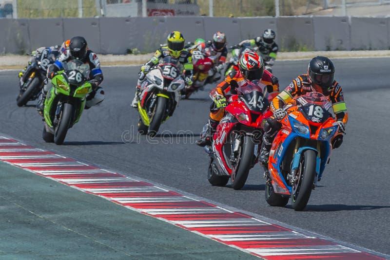Η ομάδα έσπασε τον αγώνα 24 ώρες Motorcycling Catalunya στοκ εικόνα