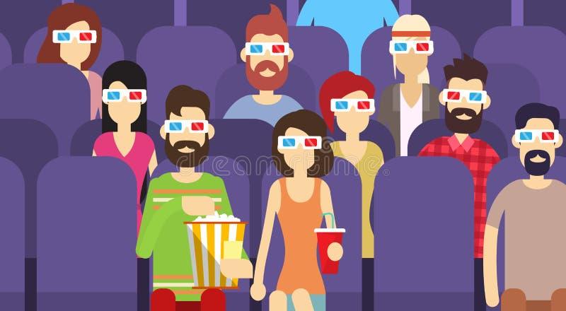 Η ομάδα ανθρώπων κάθεται τον κινηματογράφο προσοχής στα τρισδιάστατα γυαλιά κινηματογράφων με Popcorn την κόλα ελεύθερη απεικόνιση δικαιώματος