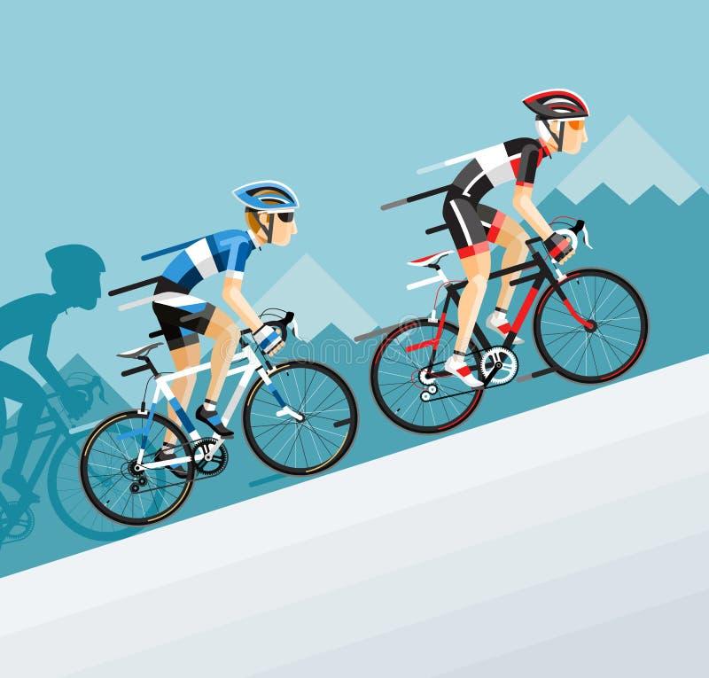 Η ομάδα ατόμου ποδηλατών στο οδικό ποδήλατο που συναγωνίζεται πηγαίνει στο βουνό απεικόνιση αποθεμάτων