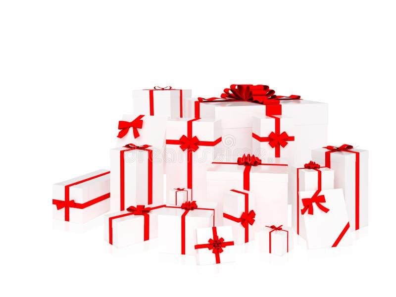 Η ομάδα παρουσιάζει Κιβώτια δώρων με τις κόκκινες κορδέλλες Άσπρη ανασκόπηση απεικόνιση αποθεμάτων