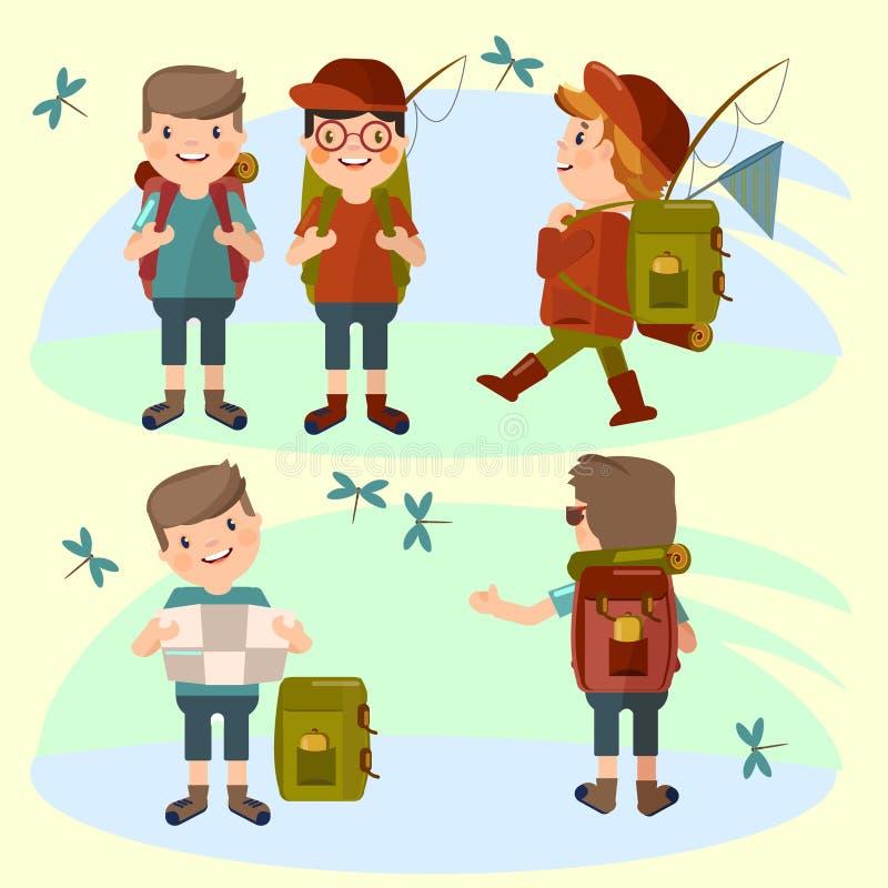 Η ομάδα τουρίστα νεαρών άνδρων με ένα σακίδιο πλάτης πηγαίνει σε ένα πεζοπορώ στα πλαίσια της φύσης Θερινή περιπέτεια απεικόνιση αποθεμάτων