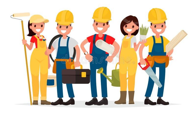 Η ομάδα των εργαζομένων χτίζει ένα σπίτι Επιστάτης, ζωγράφος, ηλεκτρικός διανυσματική απεικόνιση