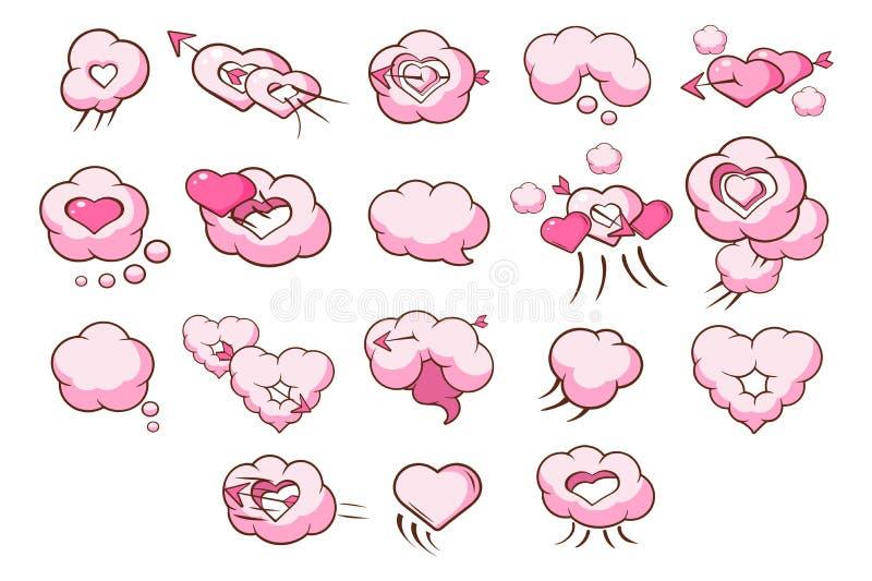 Η ομιλία βράζει στη μορφή του συνόλου καρδιών, ρόδινα σύννεφα, διανυσματικές απεικονίσεις έννοιας ημέρας βαλεντίνων σε ένα άσπρο  διανυσματική απεικόνιση