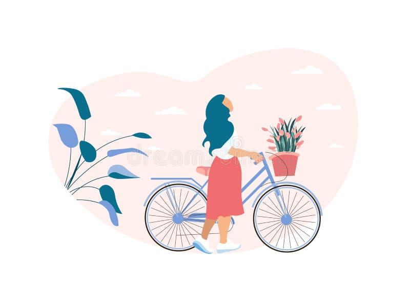 Η ονειροπόλος γυναίκα κυλά το ποδήλατο με το καλάθι λουλουδιών απεικόνιση αποθεμάτων