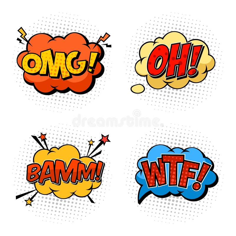 Η ονοματοποιία ηχεί omg και wtf, OH και BAM διανυσματική απεικόνιση