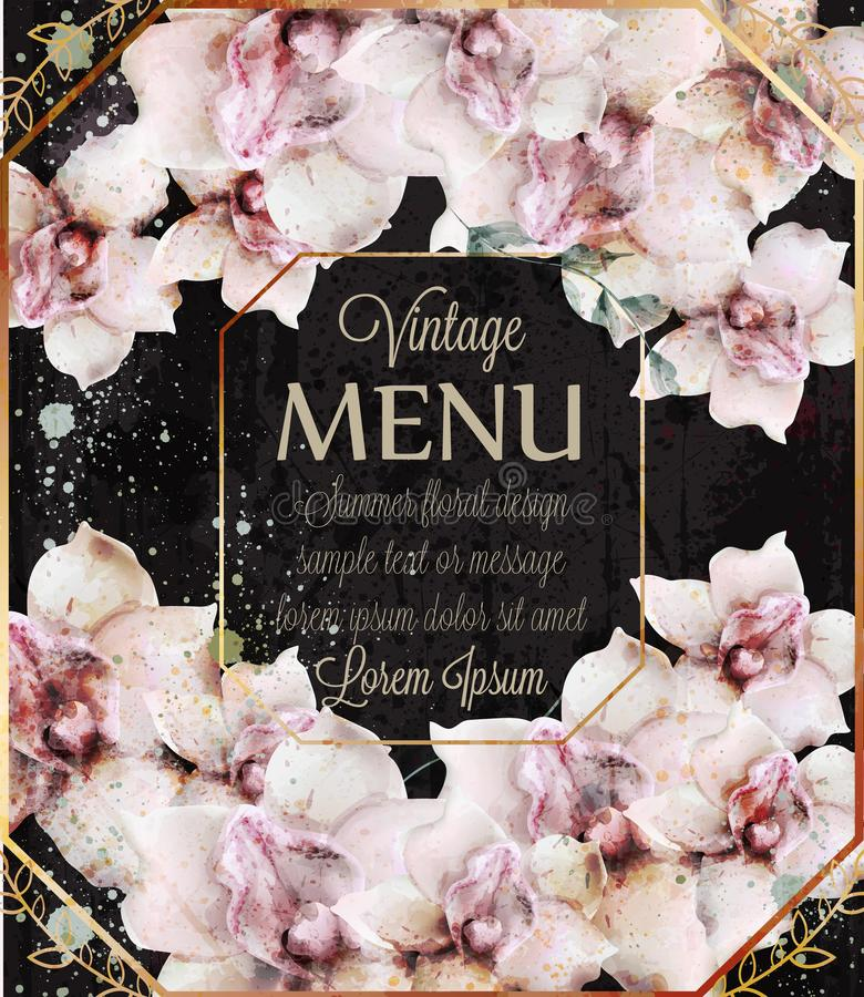 Η ορχιδέα ανθίζει το διάνυσμα watercolor γαμήλιων καρτών Όμορφα floral μαύρα υπόβαθρα ντεκόρ ελεύθερη απεικόνιση δικαιώματος