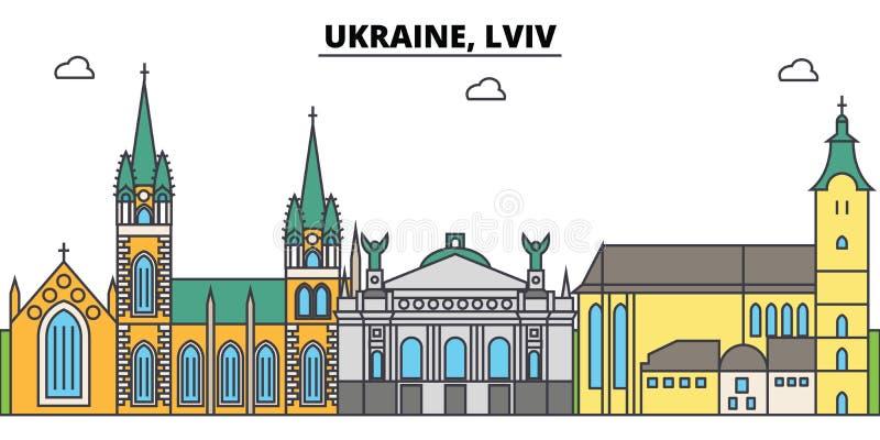 Η Ουκρανία, ορίζοντας πόλεων περιλήψεων Lviv, γραμμική απεικόνιση, έμβλημα, ορόσημο ταξιδιού, κτήρια σκιαγραφεί, διάνυσμα ελεύθερη απεικόνιση δικαιώματος