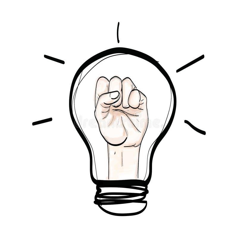 Η πάλη χεριών λαμπών φωτός θεωρεί το χέρι που επισύρεται την προσοχή στο άσπρο backgro διανυσματική απεικόνιση