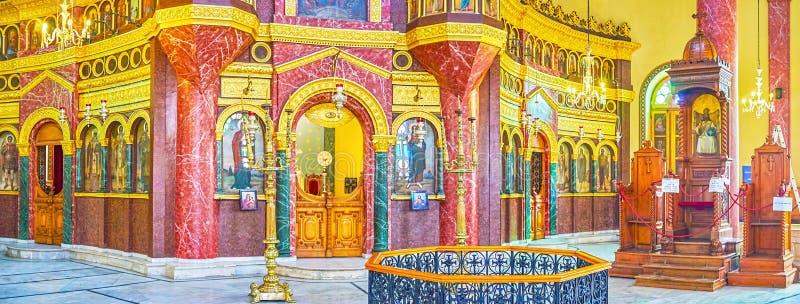 Η πέτρα χάρασε τη διακόσμηση της εκκλησίας του ST George στο Κάιρο, Αίγυπτος στοκ φωτογραφία