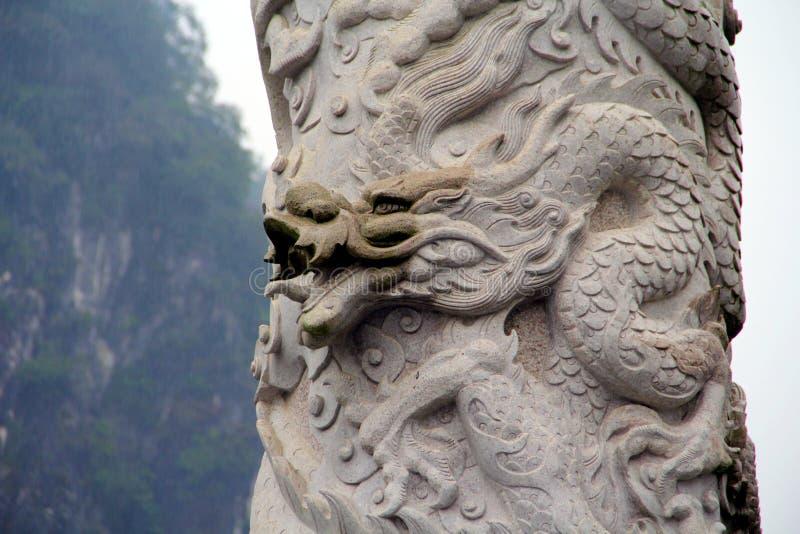 Η πέτρα - χαρασμένος κινεζικός δράκος στοκ φωτογραφία με δικαίωμα ελεύθερης χρήσης