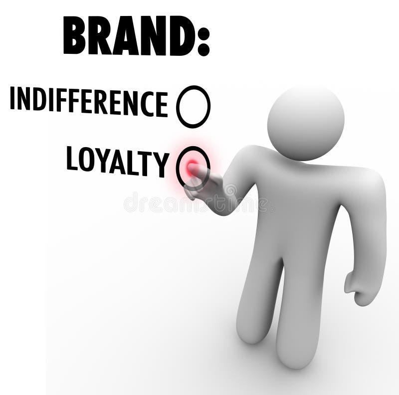 Η πίστη εμπορικών σημάτων εναντίον του πελάτη αδιαφορίας επιλέγει την προτίμηση ελεύθερη απεικόνιση δικαιώματος