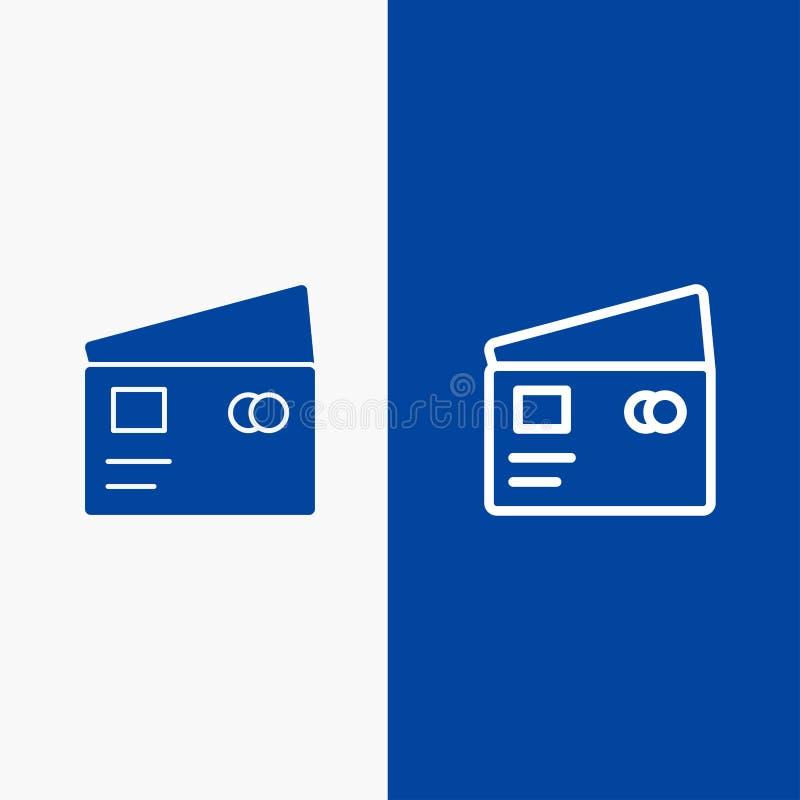 Η πίστωση, χρέωση, σφαιρική, πληρώνει, γραμμή αγορών και στερεά γραμμή εμβλημάτων εικονιδίων Glyph μπλε και στερεό μπλε έμβλημα ε διανυσματική απεικόνιση