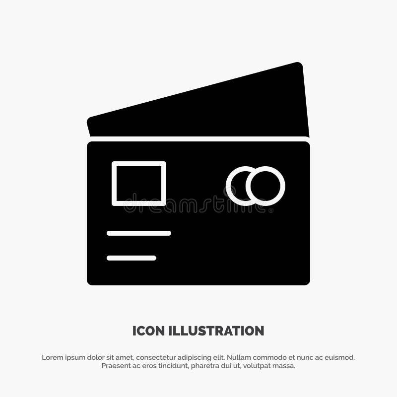 Η πίστωση, χρέωση, σφαιρική, πληρώνει, διάνυσμα εικονιδίων αγορών στερεό Glyph απεικόνιση αποθεμάτων