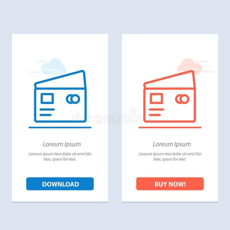 Η πίστωση, χρέωση, σφαιρική, πληρώνει, το μπλε και το κόκκινο αγορών μεταφορτώνουν και αγοράζουν τώρα το πρότυπο καρτών Widget Ισ ελεύθερη απεικόνιση δικαιώματος