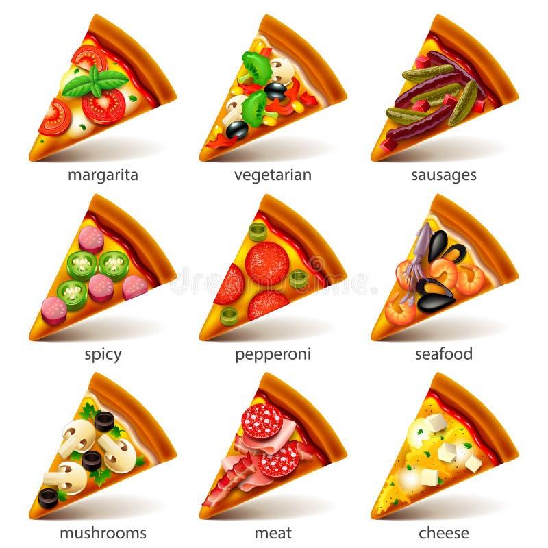 Η πίτσα τεμαχίζει το διανυσματικό σύνολο εικονιδίων ελεύθερη απεικόνιση δικαιώματος