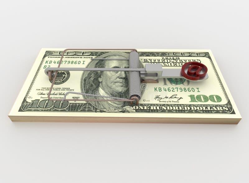 Η παγίδα ταχυδρομείου και ποντικιών από τη δέσμη του Μπιλ 100 δολαρίων, δίνει στο λευκό διανυσματική απεικόνιση