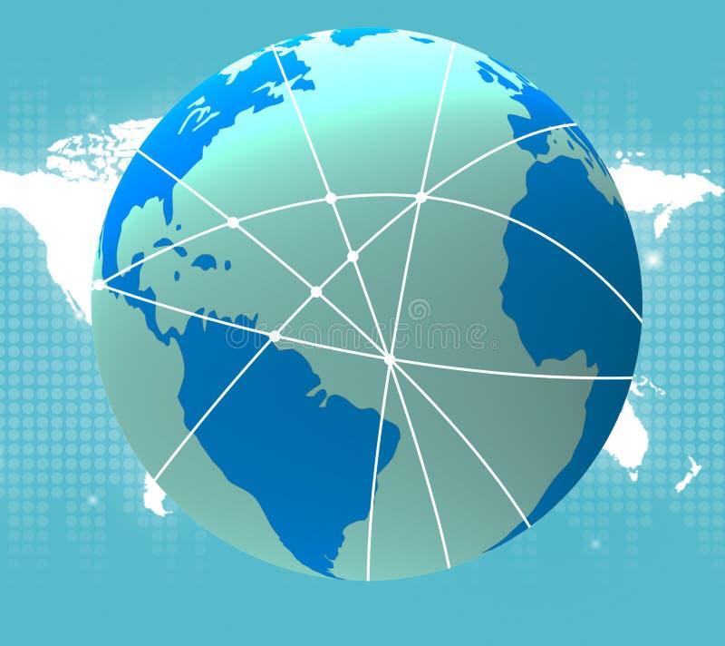 Η παγκόσμια σφαίρα δείχνει τον οδηγό ταξιδιού και παγκοσμίως διανυσματική απεικόνιση
