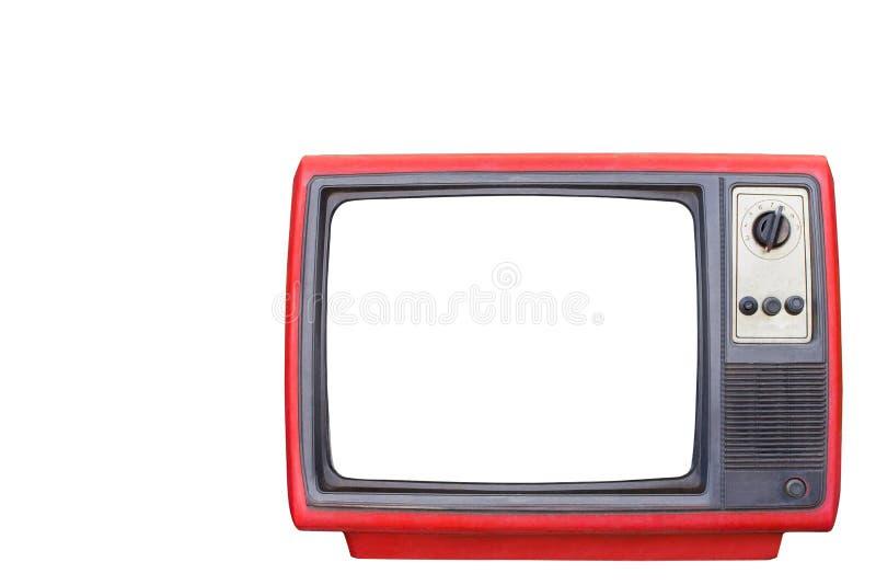 Η παλαιά κόκκινη τηλεοπτική κενή άσπρη οθόνη απομόνωσε το άσπρο υπόβαθρο στοκ φωτογραφία με δικαίωμα ελεύθερης χρήσης