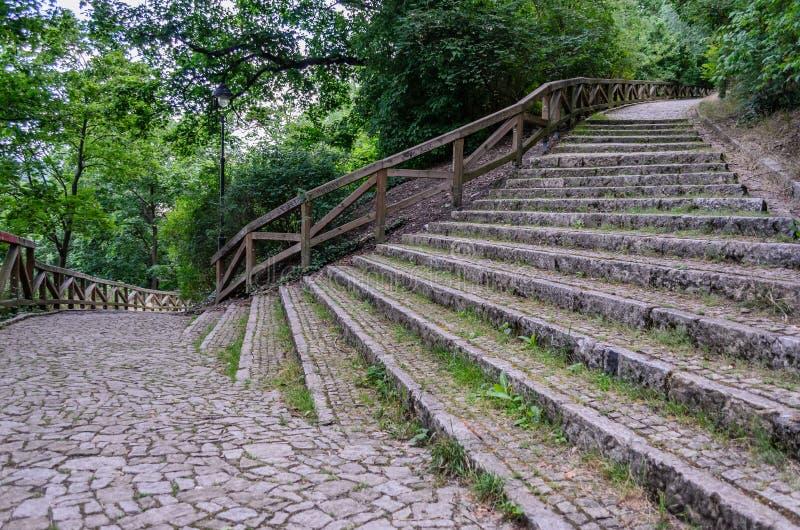 Η παλαιά, μεσαιωνική, ευρεία, σκάλα πετρών σε ένα πάρκο ή το δάσος εσείς μπορεί να περπατήσει κατά μήκος του, το κυριώτερο πράγμα στοκ εικόνες
