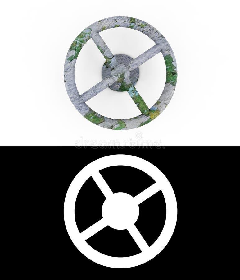 Η παλαιά σκουριασμένη βαλβίδα έκαμψε το σωλήνα μετάλλων : Έννοια της σωλήνωσης τρισδιάστατη απόδοση με το άλφα κανάλι διανυσματική απεικόνιση