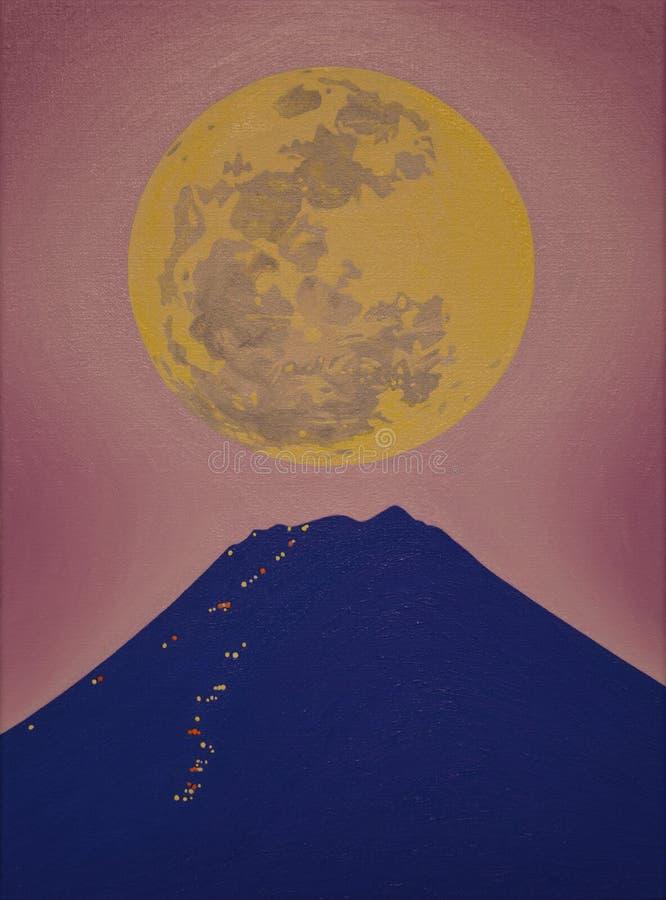 Η πανσέληνος και τοποθετεί το Φούτζι τη νύχτα στοκ φωτογραφίες