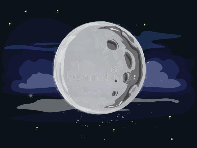 Η πανσέληνος με τους κρατήρες, τα αστέρια, και τα σύννεφα στο διάστημα διανυσματική απεικόνιση