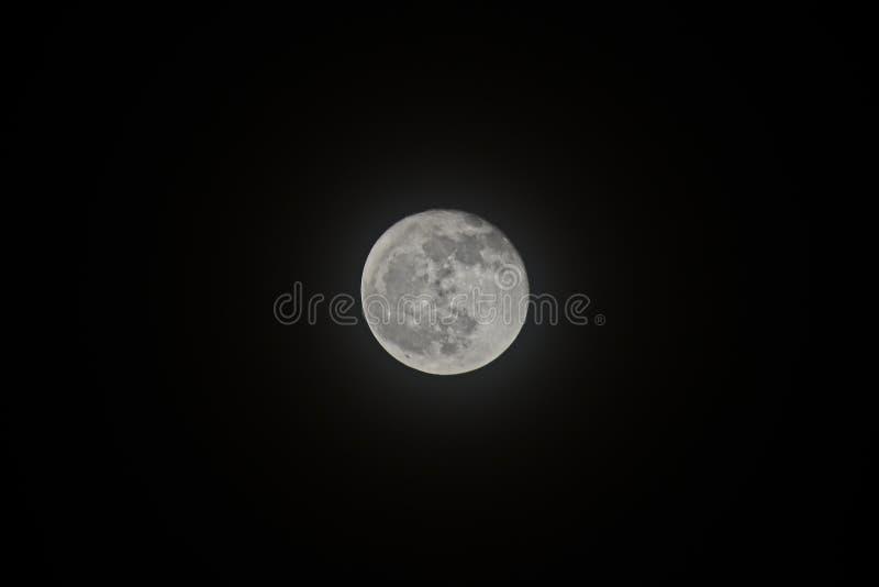 Η πανσέληνος που απομονώνεται τη νύχτα στο μαύρο υπόβαθρο στοκ εικόνες με δικαίωμα ελεύθερης χρήσης